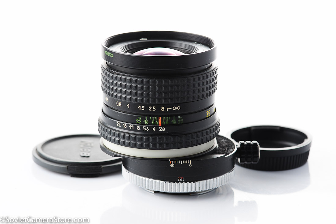 PCS Arsat H 35mm f2.8 is the only perspective control shift lens produced in Soviet Union